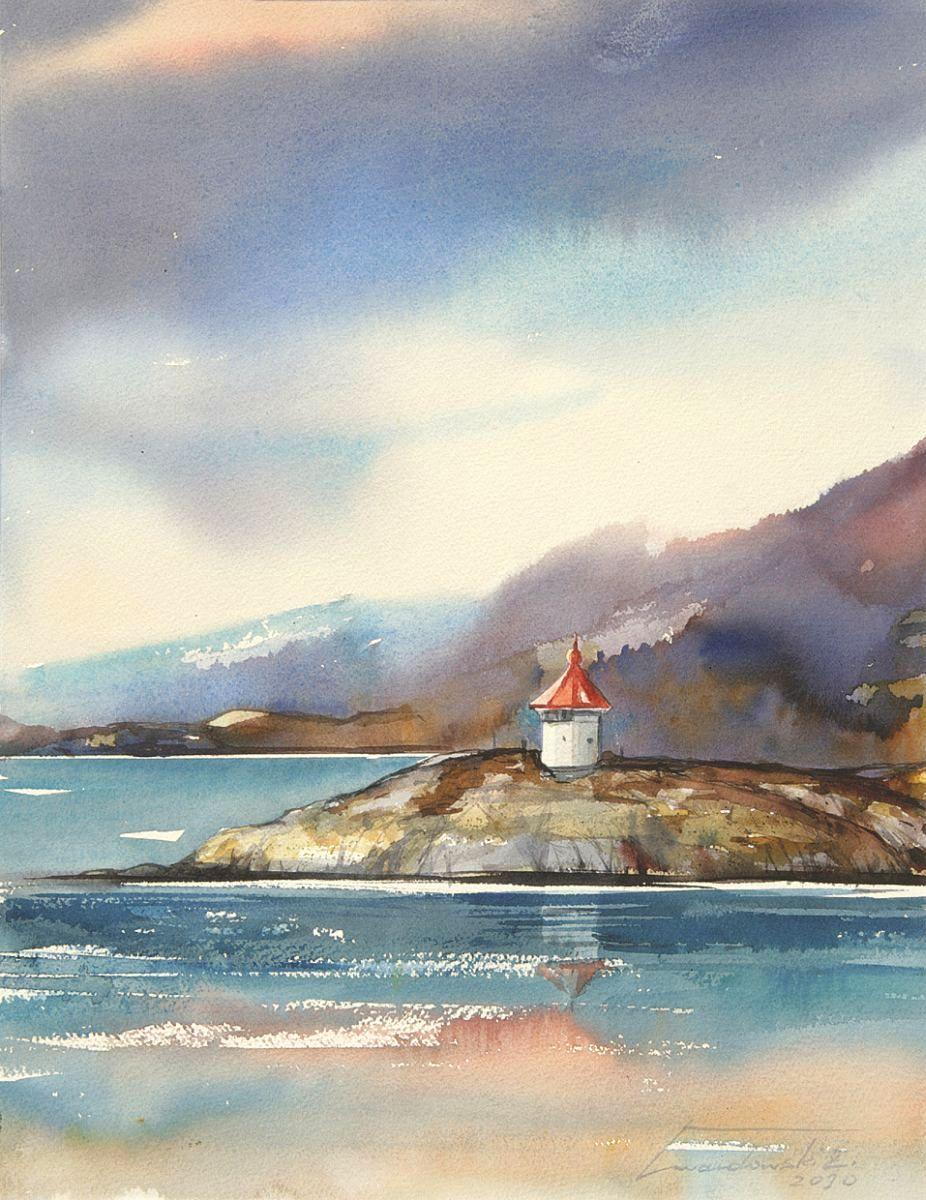 Latarnia w Norwegii. 28x38 cm. Kazimierz Twardowski
