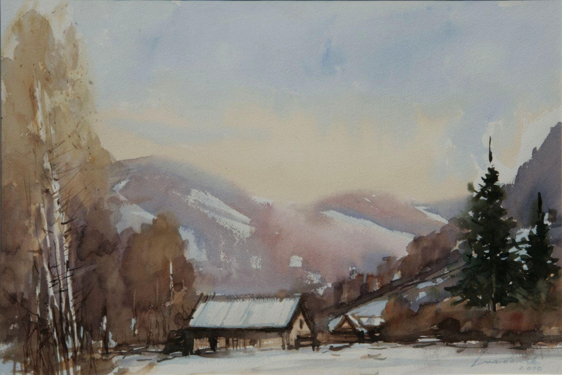 Zima na Obidzy. 56x38 cm. Kazimierz Twardowski