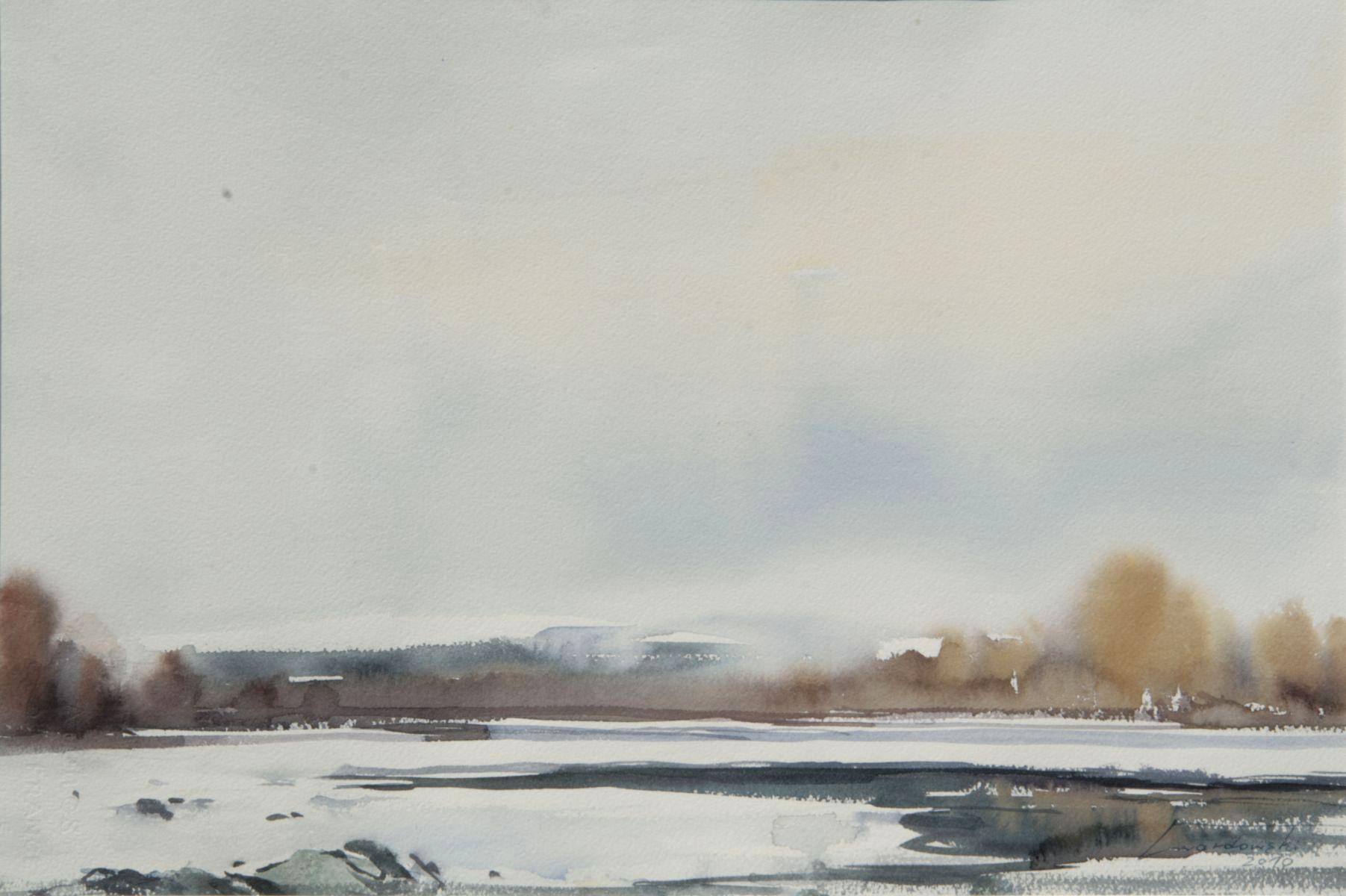 Dunajec zimą. 56x38 cm. Kazimierz Twardowski