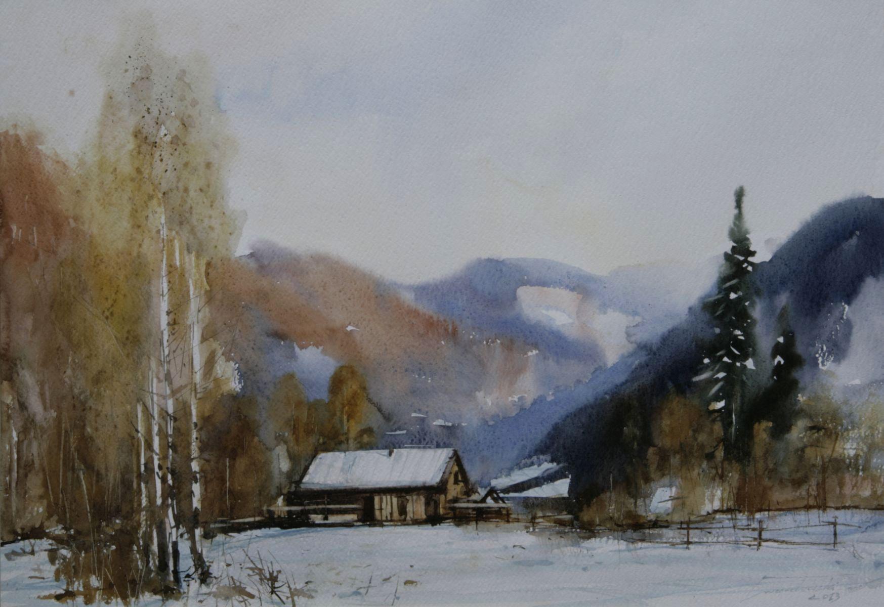Zima na Obidzy II. 70x50 cm. Kazimierz Twardowski