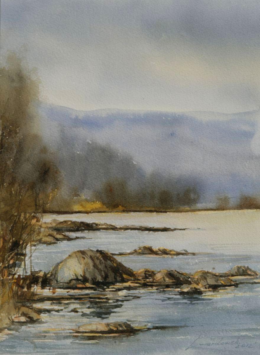 Jesień nad Dunajcem. 28x38 cm. Kazimierz Twardowski