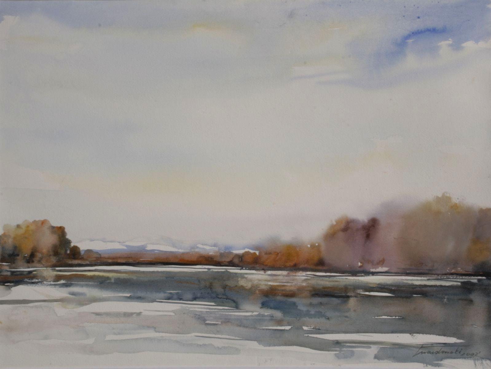 Pierwszy śnieg nad Dunajcem. 76x56 cm. Kazimierz Twardowski