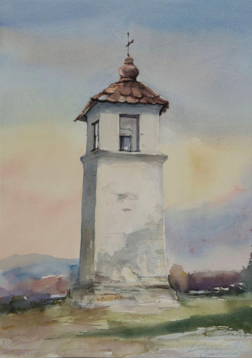 Kapliczka w Mokrej Wsi. 38x56 cm. Kazimierz Twardowski