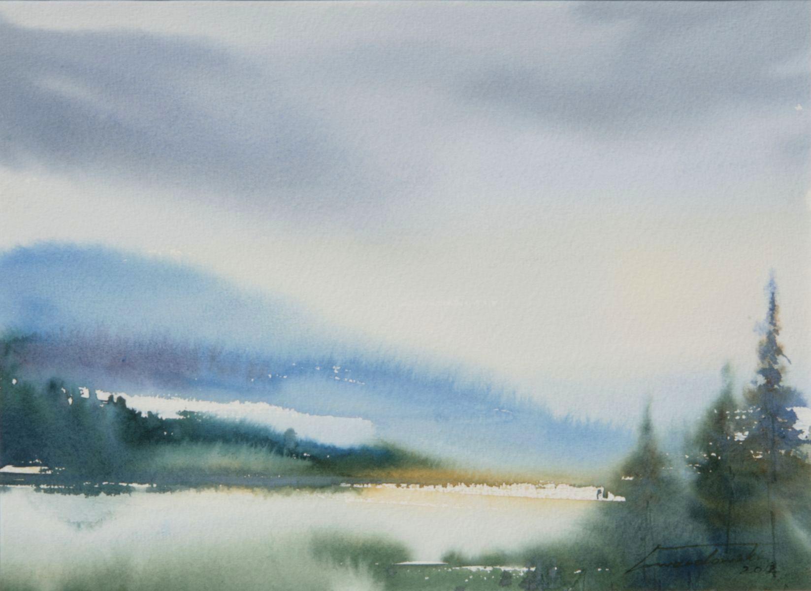 O świcie w górach. 38x28 cm. Kazimierz Twardowski