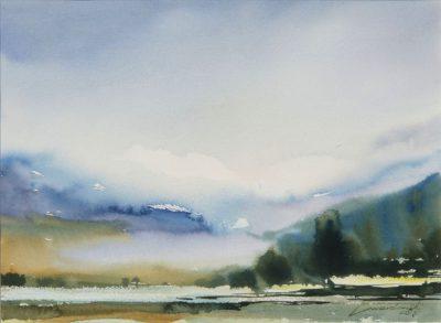 O świcie w górach II. 38x28 cm. Kazimierz Twardowski