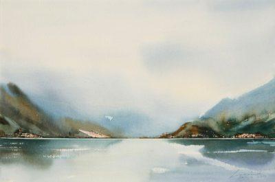Jezioro Como - Bellagio. 56x38 cm. Kazimierz Twardowski