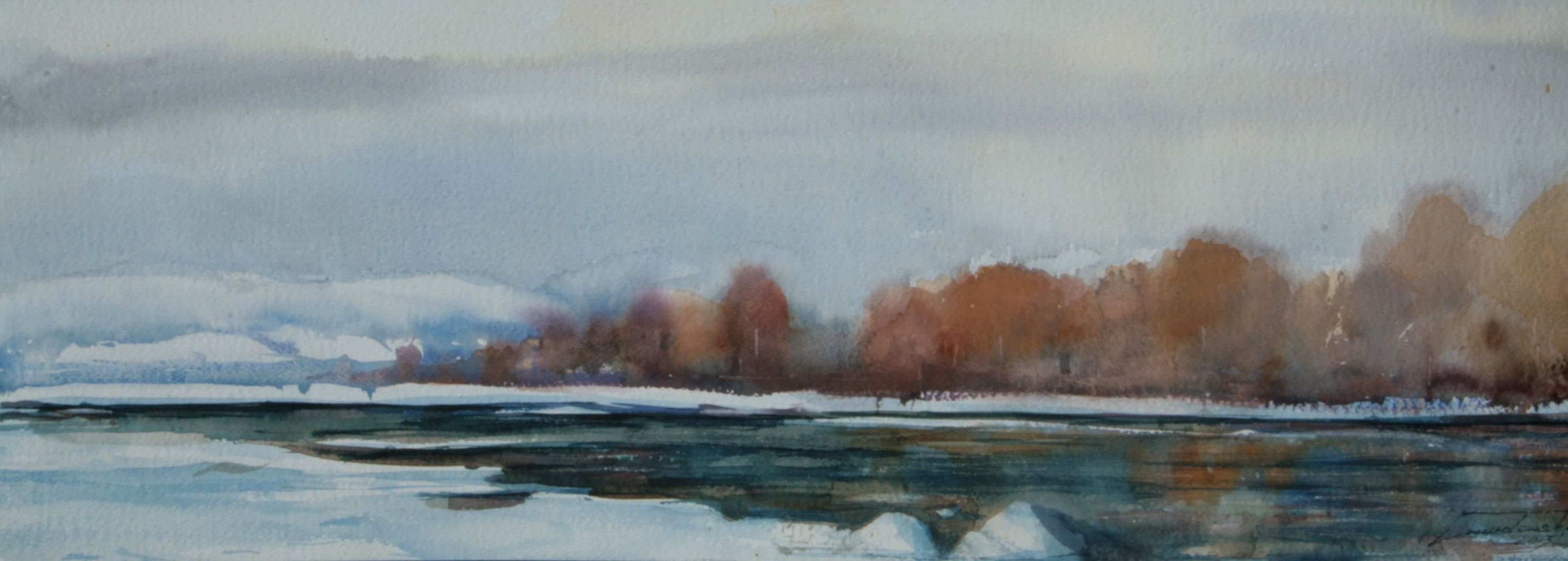 Zima nad Dunajcem. 60x20 cm. Kazimierz Twardowski