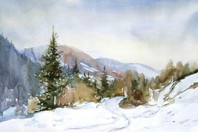 Beskidy zimą. 70x50 cm. Kazimierz Twardowski