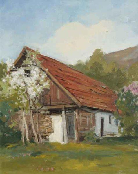 Stara zabudowa w Łącku. 50x60 cm. Kazimierz Twardowski