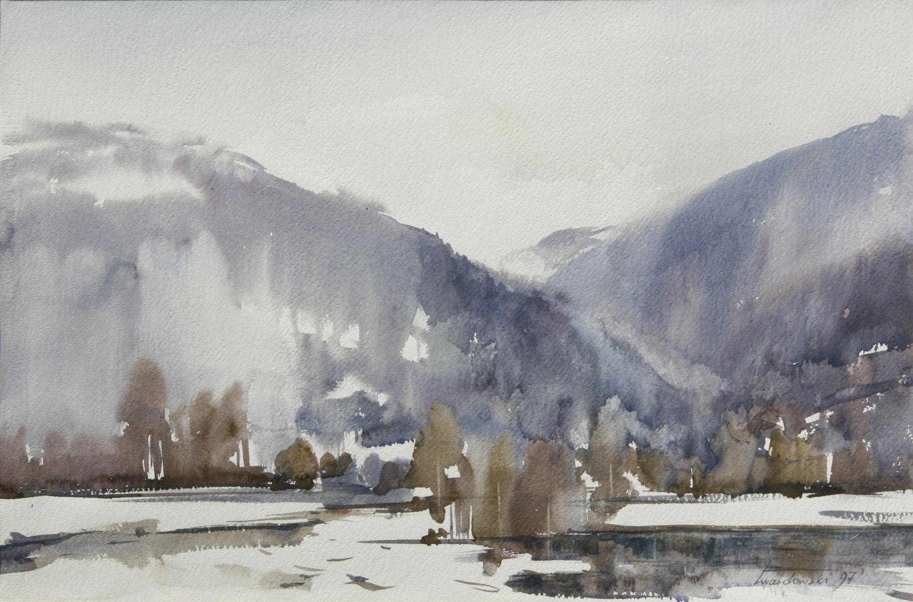 Zima w Kurowie. 70x50 cm.  Kazimierz Twardowski