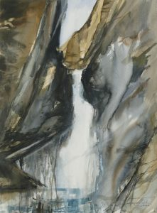 Wodospad Voldallen. 56x75 cm.  Kazimierz Twardowski