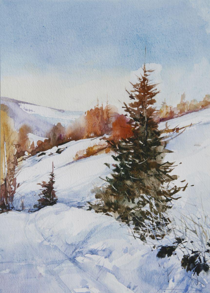 Zima na Obidzy. 35x50 cm.  Kazimierz Twardowski