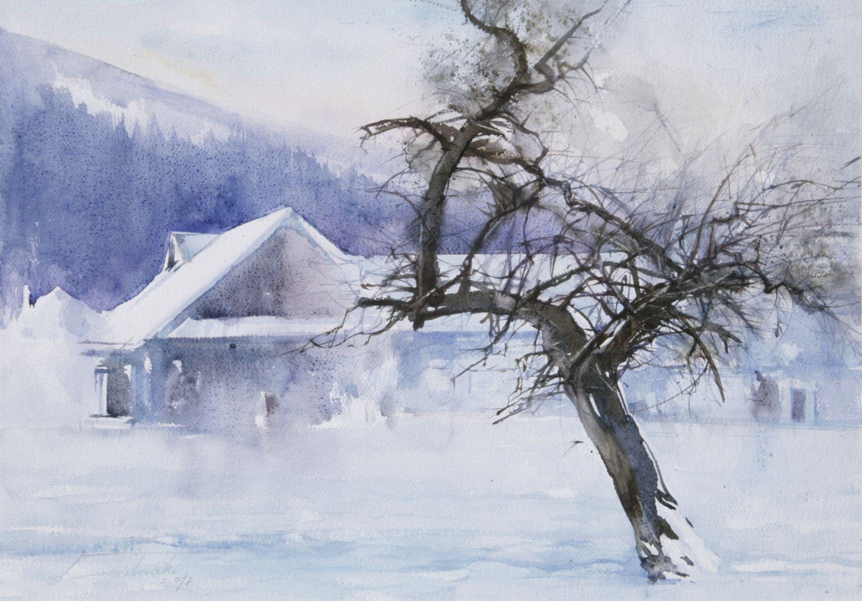 Naszacowice zimą. 70x50 cm.