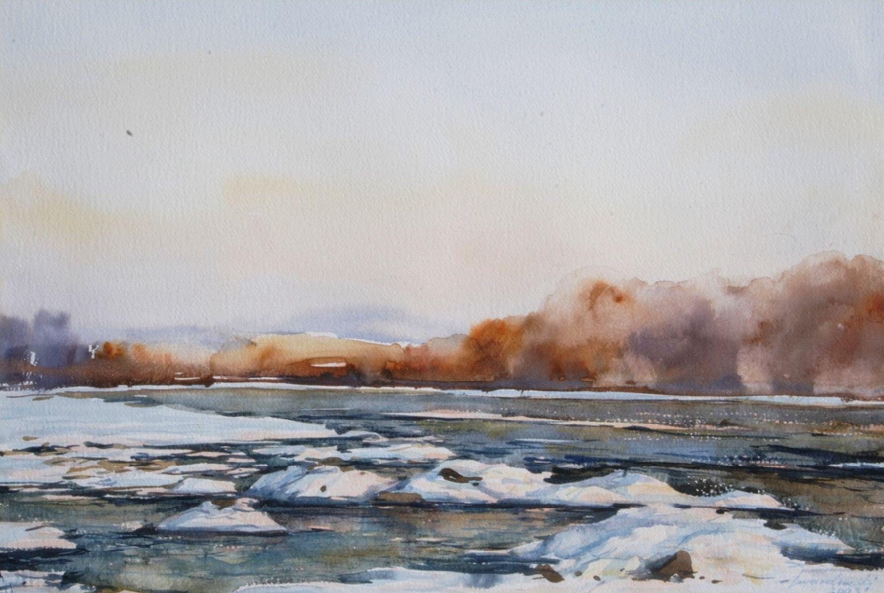Mroźny dzień nad Dunajcem. 70x50 cm.  Kazimierz Twardowski
