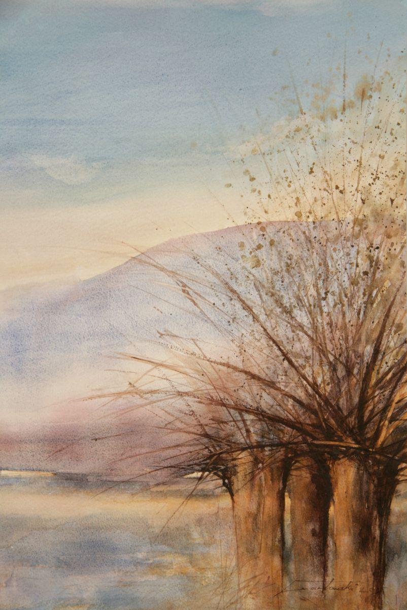 Wierzby we mgle. 38x56 cm.  Kazimierz Twardowski