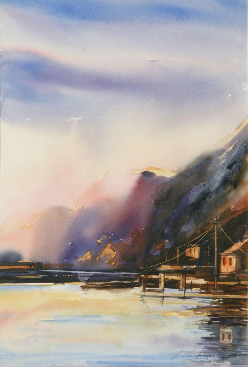 Nocne światło na Lofotach.  38x56 cm.  Kazimierz Twardowski