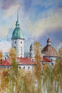 Panorama Nowego Sącza. 35x50 cm.  Kazimierz Twardowski