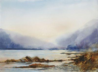 Wieczorne światło nad Dunajcem. 76x56 cm. Kazimierz Twardowski