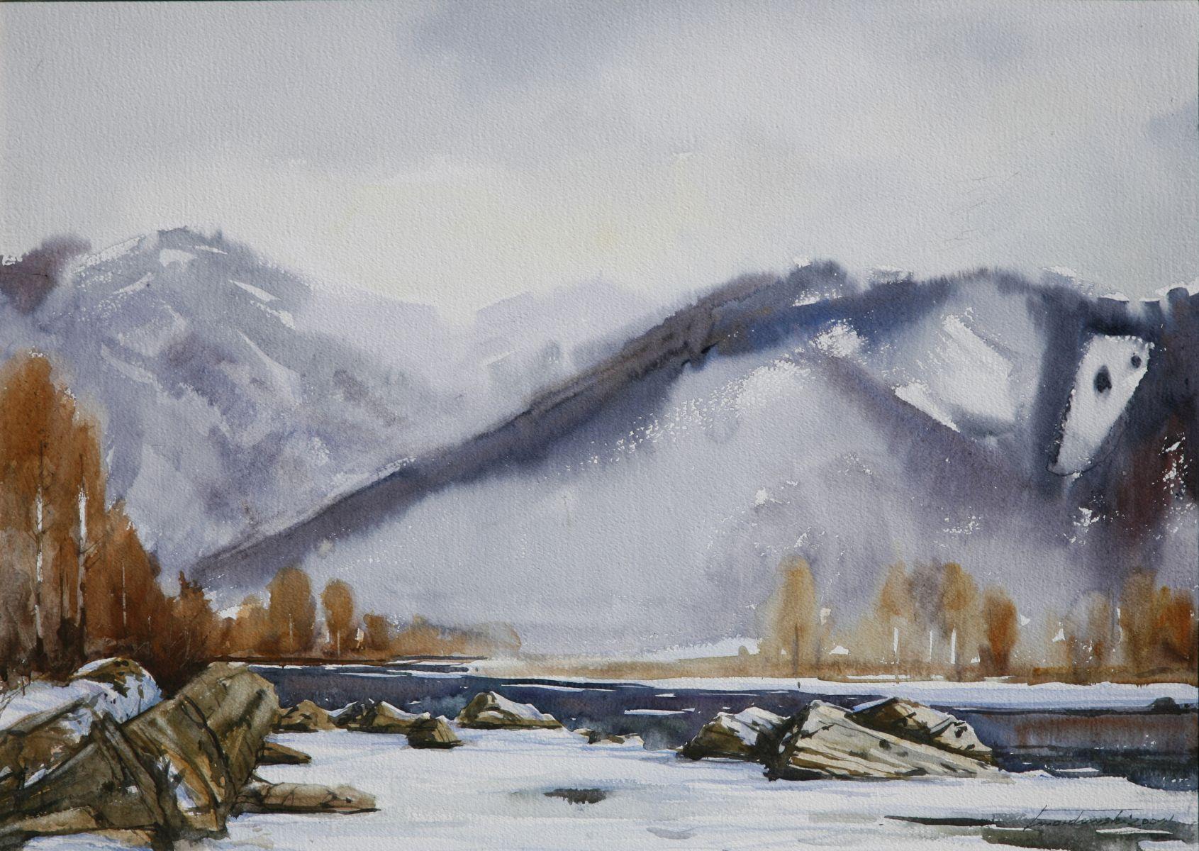 Dunajec w Tylmanowej. 70x50 cm. Kazimierz Twardowski