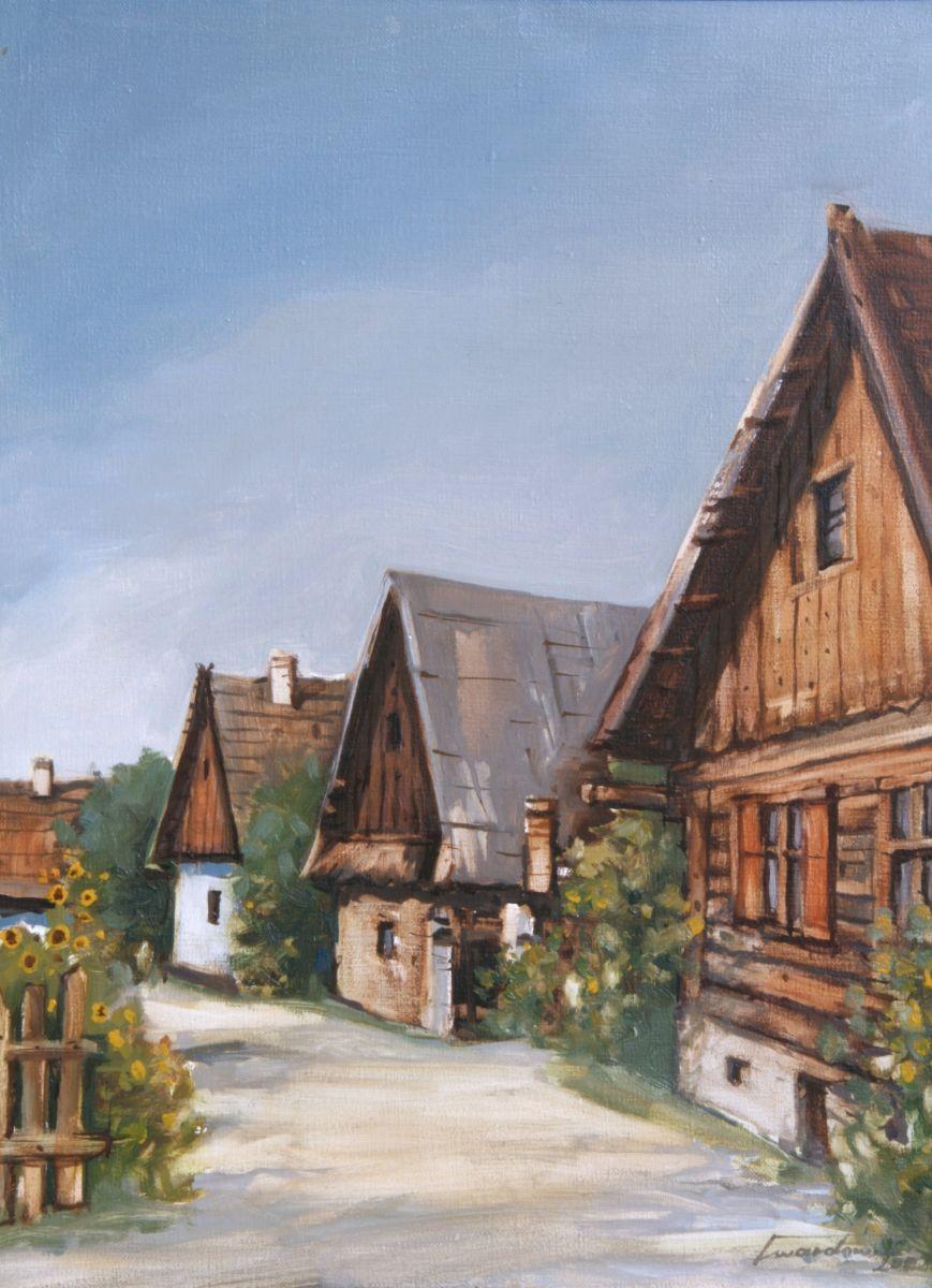 Uliczka w Starym Sączu. 50x60 cm. Kazimierz Twardowski
