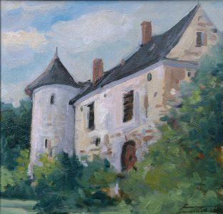 Stara farma w Bretanii II. 39x39 cm. Kazimierz Twardowski