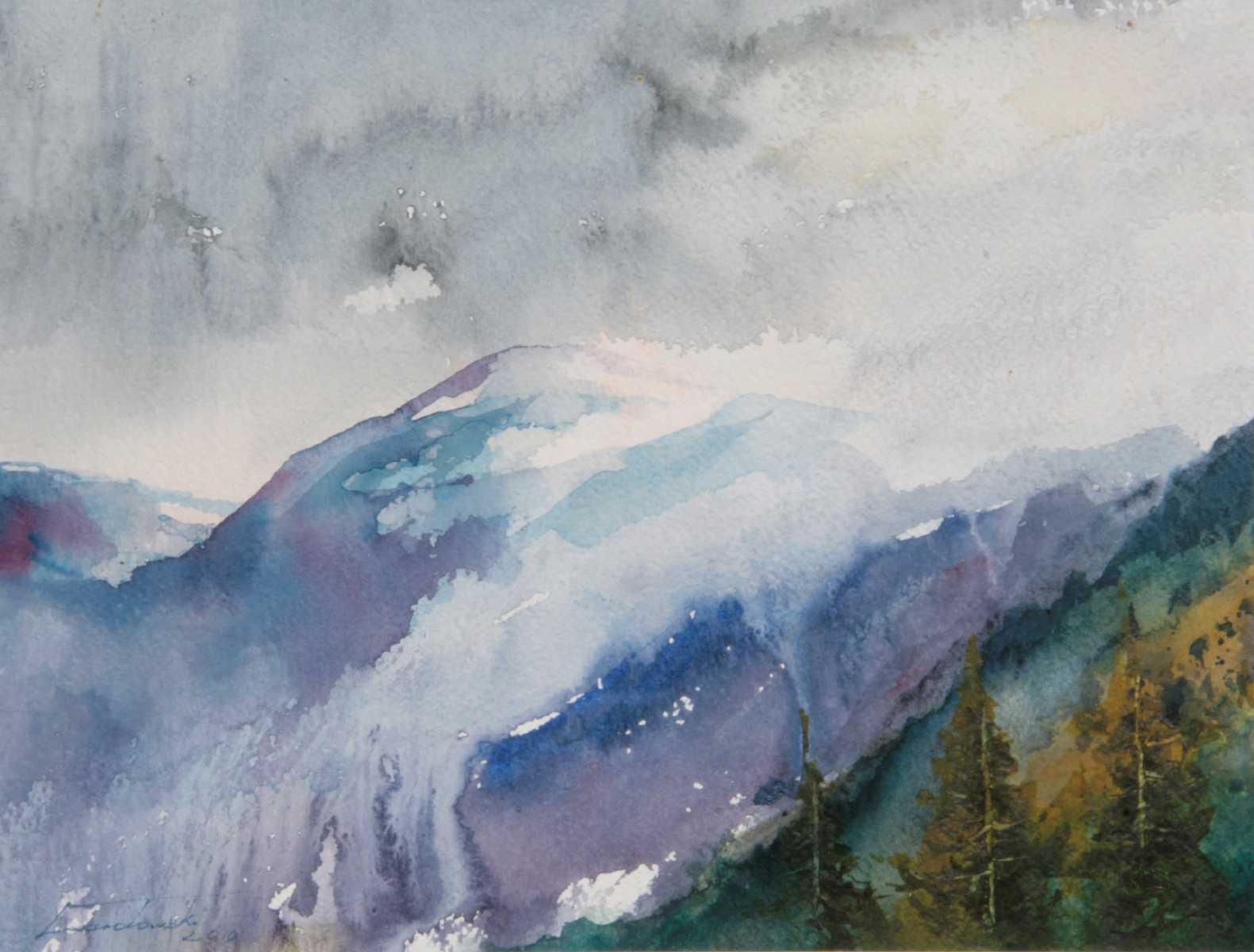 Burza w górach, 34x26 cm. Kazimierz Twardowski